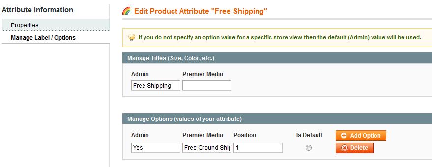 attribute label/options
