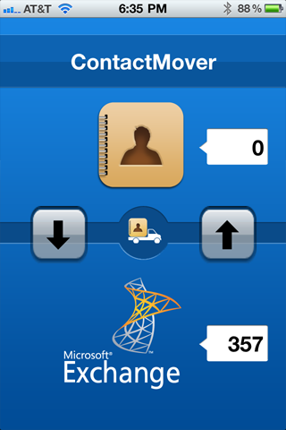 ContactMover iPhone app interface