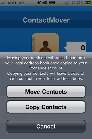 ContactMover iPhone app interface 2