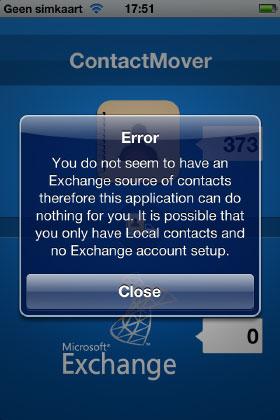 ContactMover error screenshot
