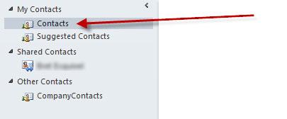 Contacts folder error