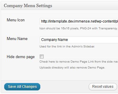 My Company Menu help/settings page